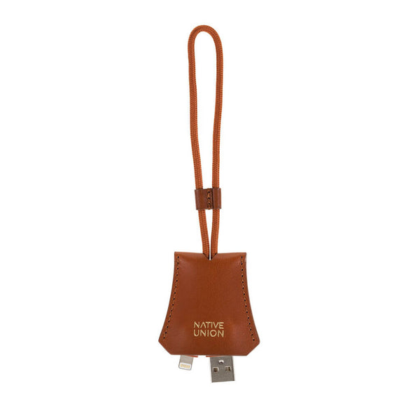TAG Lightning cable in leather pocket, tan