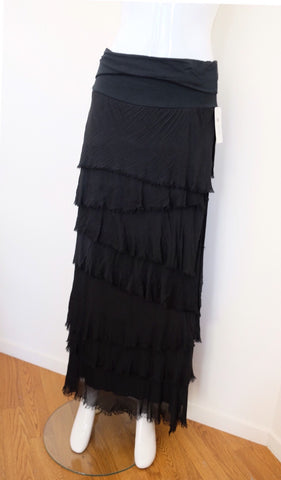 Made In Italy Messina Layered Maxi Silk Skirt