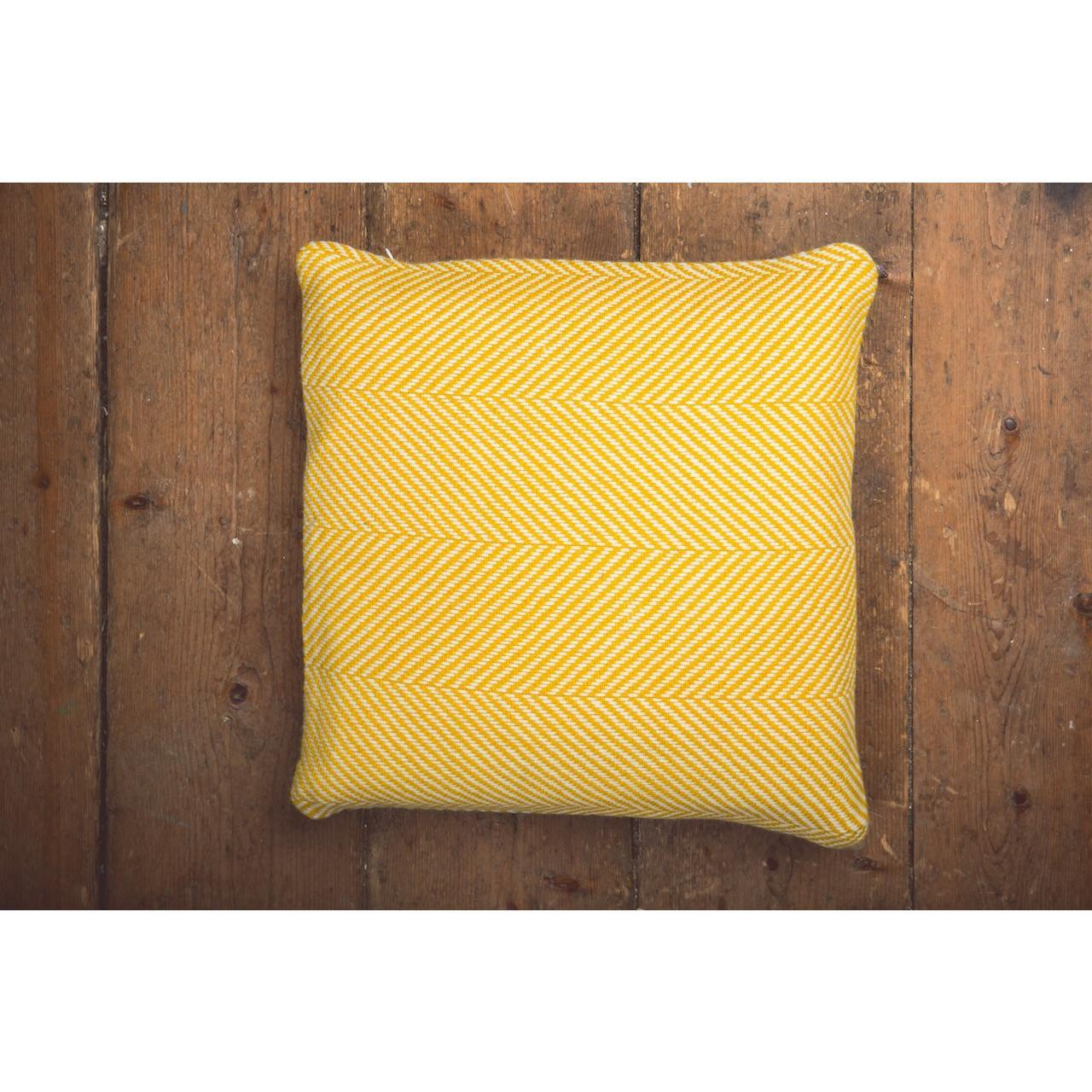 Foxford Lambswool Feather Filled Cushions Gold White Herringbone
