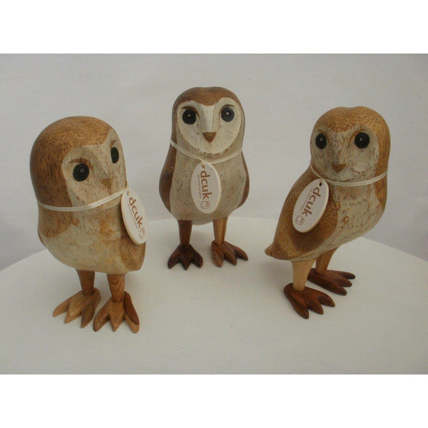 Dcuk Hand Carved Barn Owl Wood Carvings By The Duck