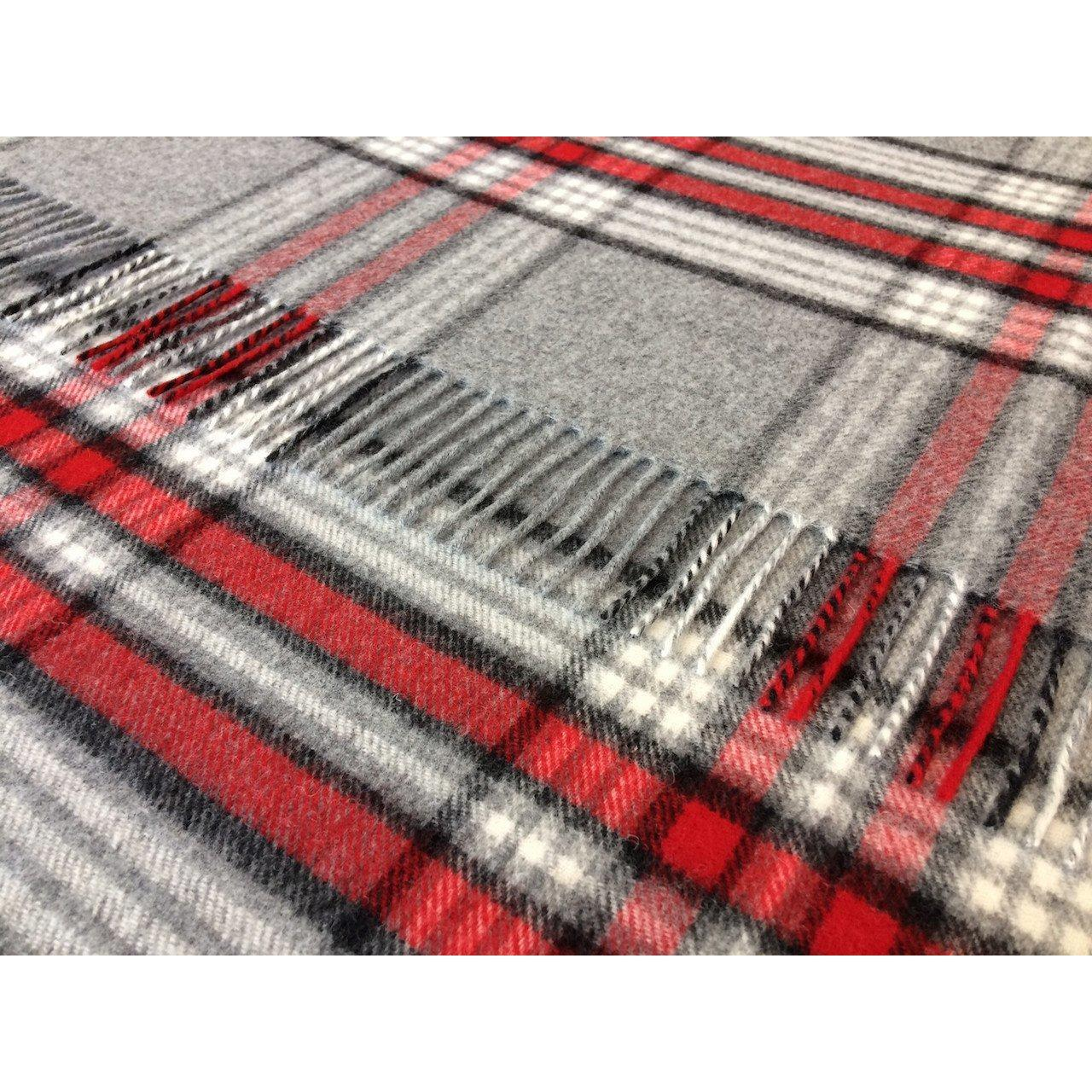 100% pure lambswool BRONTE sofa throw blanket rug - RED & GREY CHECK  T0104/B02 by Bronte