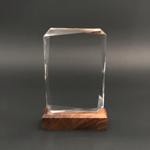 "7"" Tablet Crystal with Wood Base"