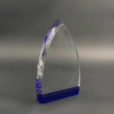 "9"" Jeweled Crystal Flame with Blue Base Colour Trophy"