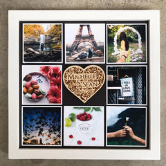 "Wooden Frame & Photo Magnet Prints  (3"" x 3"") With Heart Centrepiece"