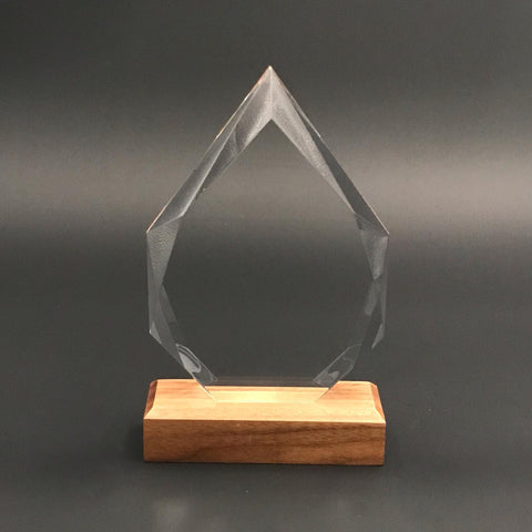 "8"" Teardrop Crystal with Wood Base"