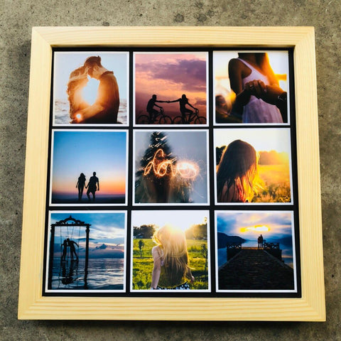 "Wooden Frame & Photo Magnet Prints - 9 pcs of (3"" x 3"") Photo Magnets"