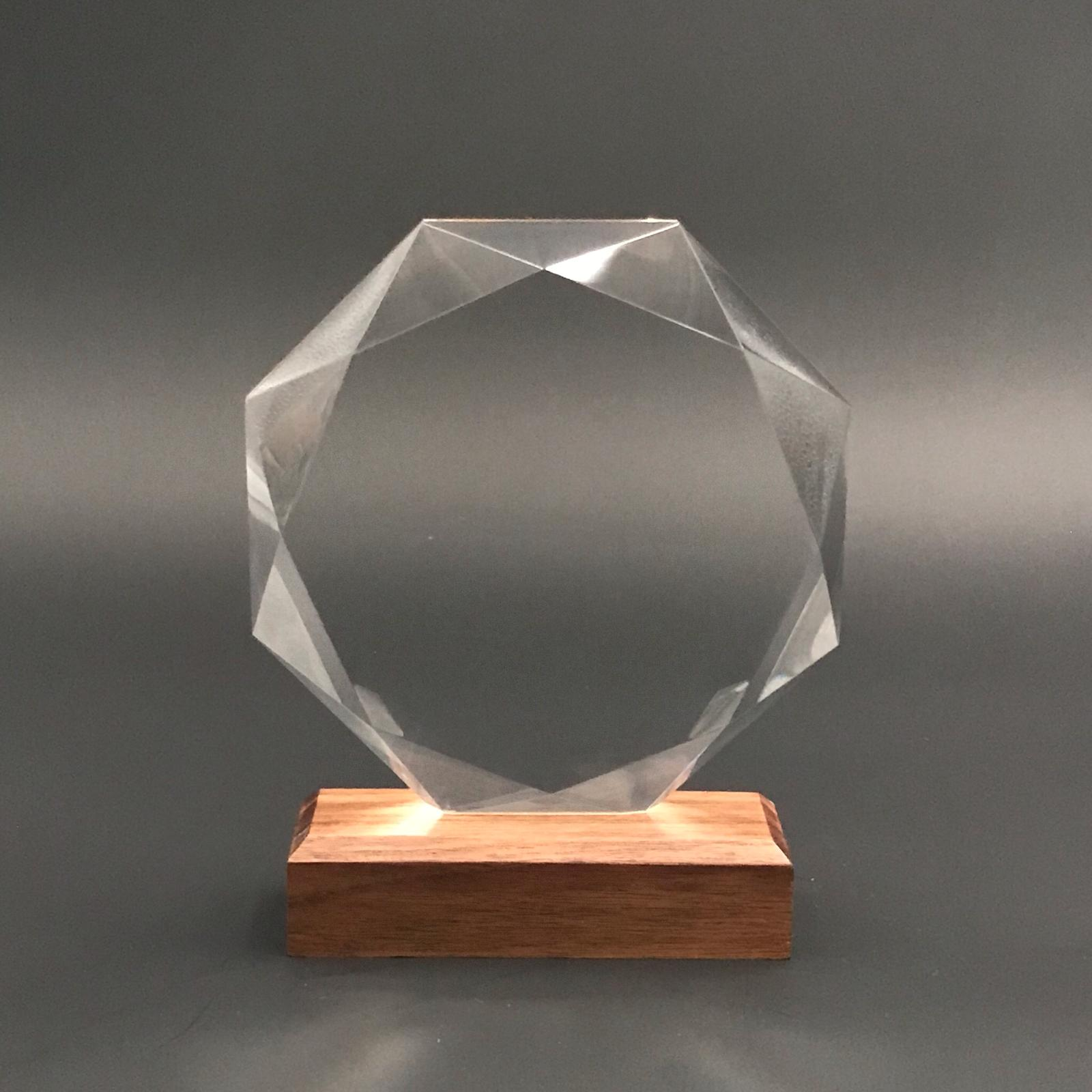 "7"" Octagon Crystal with Wood Base"
