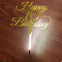 Golden Cake Topper ( Birthday )