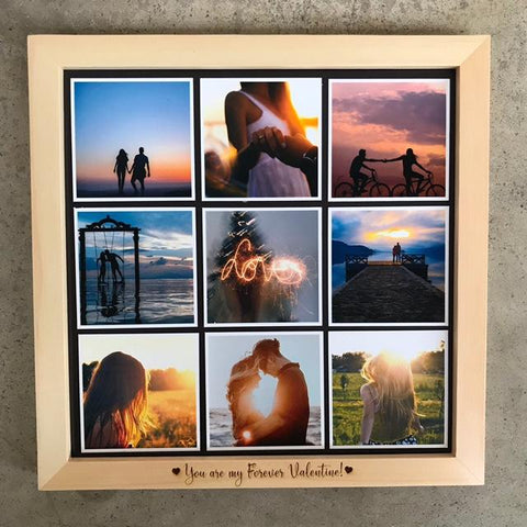 "Wooden Frame & Photo Magnet Prints (3"" x 3"") With Engraving & Heart Centrepiece"