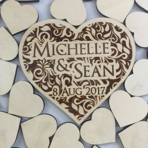 Customised Wedding Frame with Wooden Hearts