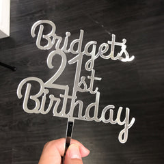 Silver Mirror Birthday Cake Topper
