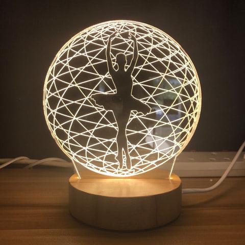 Custom LED Display with Custom Wooden Base (Ballerina)
