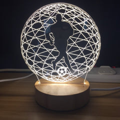 Custom LED Display with Custom Wooden Base (Soccer Ball)