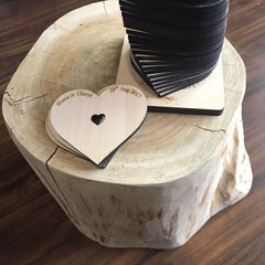 Wooden Heart Shape Guest Book New