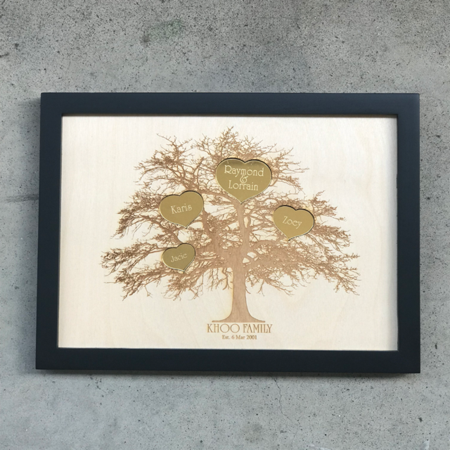 Family Tree Engraving on Wooden Frame