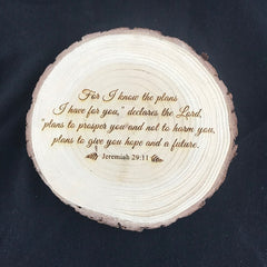 Custom Engraving on Wood Slice
