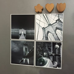 "Photo Fridge Magnets - 4 pcs of B&W (4""x 4"") Photo Magnets"