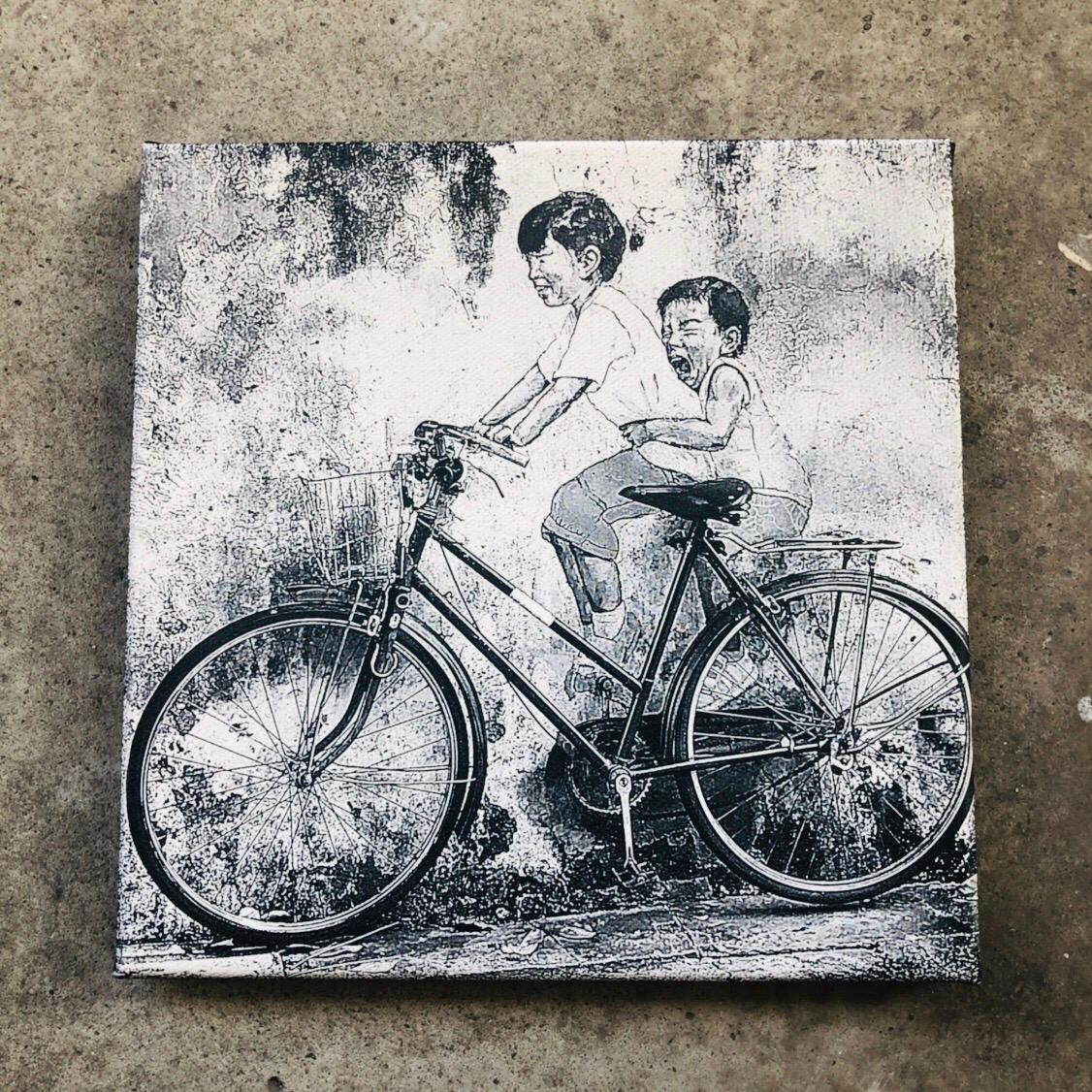 Laser Image Engraving on Canvas Frame (black and white)