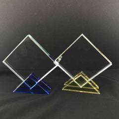 "5"" Crystal Plaque with Blue or Yellow Base"