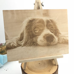 Image Engraving on Wood with Easel Stand