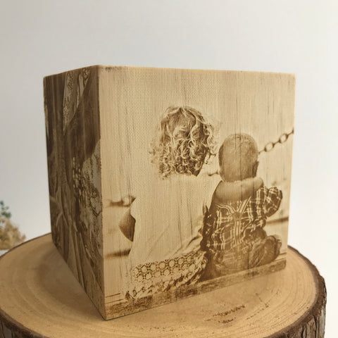 Image Engraving on Wooden Cube