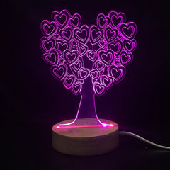 Custom LED Display with Custom Wooden Base (Hearts Tree)