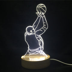 Custom LED Display with Wooden Base (Basketball Player)