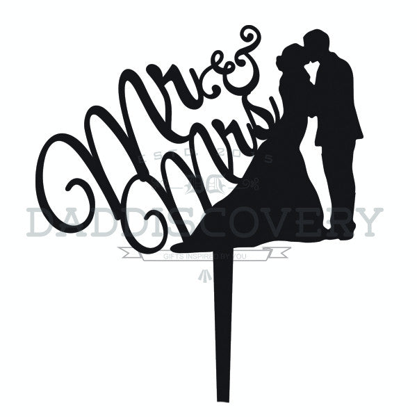 Wedding Cake Topper - Mr & Mrs Couple Silhoutte