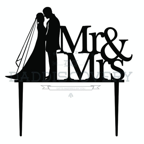 Mr & Mrs Couple Silhoutte Cake Topper for Wedding