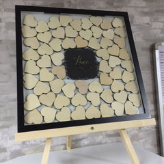 Customised Wedding Frame With Wooden Hearts on Black Frame