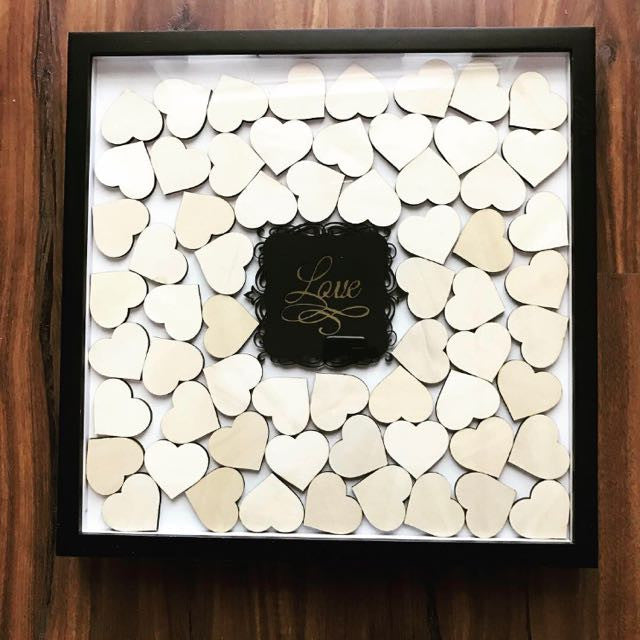 Customised Wedding Frame With Wooden Hearts on Black Frame ...
