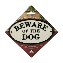 Beware Of The Dog Cast Iron Oval