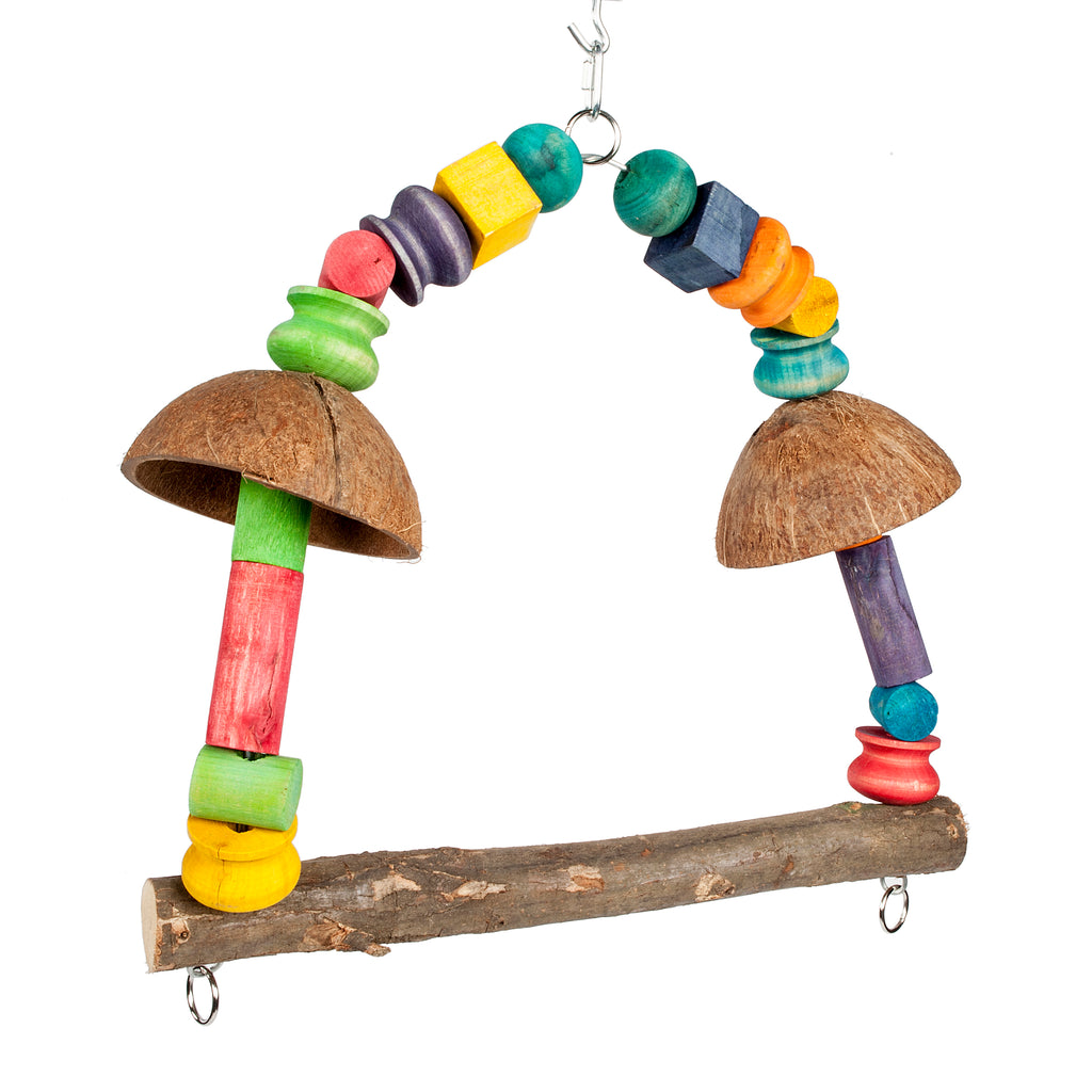 Coconut Rainbow Swing Parrot Toy