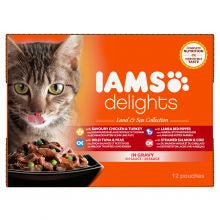 Iams Delights Cat Wet Land & Sea Collection in Gravy 85g x 12 - Pet Products R Us