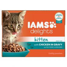 Iams Delights Kitten with Chicken in Gravy 85g x 12 - Pet Products R Us