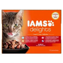 Iams Delights Pouches Land & Sea in Jelly 85g x 12 - Pet Products R Us