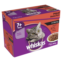 Whiskas Pouch 7+ Meat 100g x 12 - Pet Products R Us
