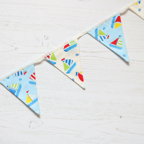 Sail Boat Mini Cotton Bunting - New for 2017 (inc P&P)