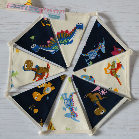 Dinosaur mini cotton bunting: 7 pennants with dinos on navy & 7 pennants with dinos on ivory all cute cheeky characters