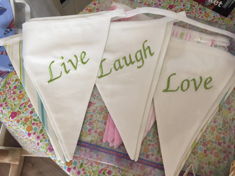 Live, Laugh & Love Embroidered Nine Pennant String of Cotton Bunting (price inc P&P)