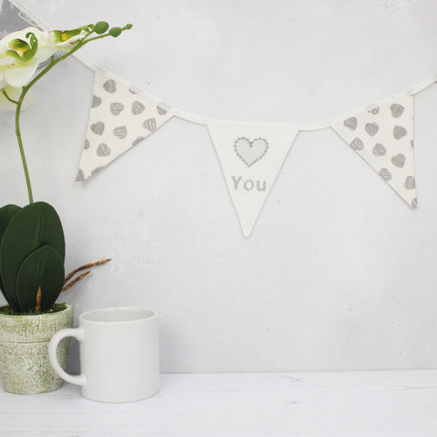 Love You Mini Cotton Bunting with hidden pocket (inc P&P)