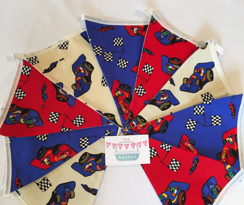 Racing Cars Nine Pennant Cotton Bunting - Perfect fo those Car Lovers