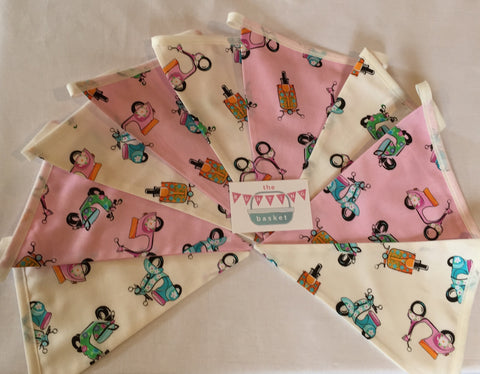 Retro Scooter Nine Pennant Cotton Bunting