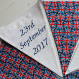 Union Jack wedding string showing embroidered date 23 September 2017