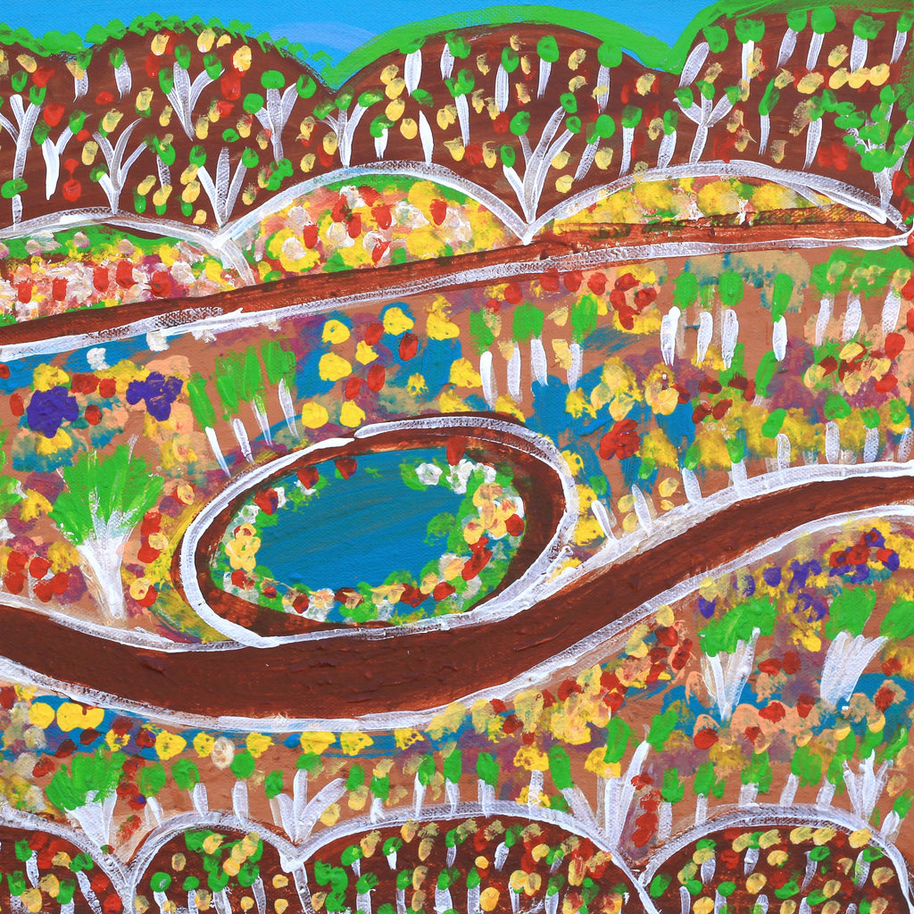 Aboriginal Art - Gwenneth Blitner, Bullock Hole, 40x30cm - Art Ark