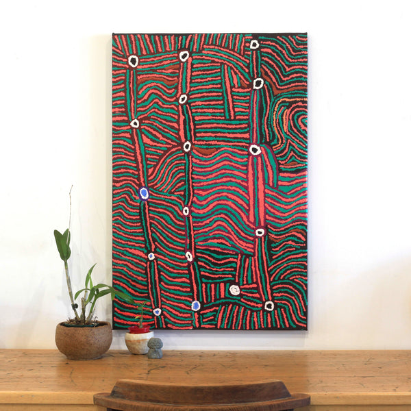 Aboriginal Art - Mary Napangardi Brown, Mina Mina Jukurrpa - Ngalyipi, 91x61cm - Art Ark