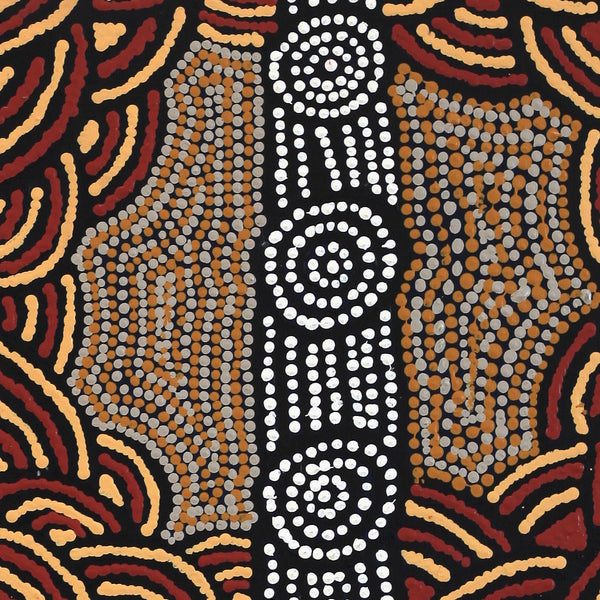 Aboriginal Art | Jamie Lee Nampijinpa Brown, Ngapa Jukurrpa (Water Dreaming)  - Mikanji, 30x30cm