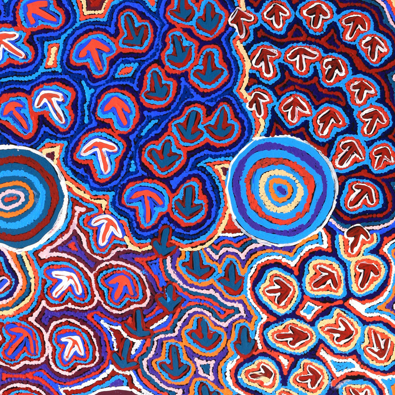 Aboriginal Art | Margaret Nangala Gallagher, Yankirri Jukurrpa (Emu Dreaming), 122x76cm