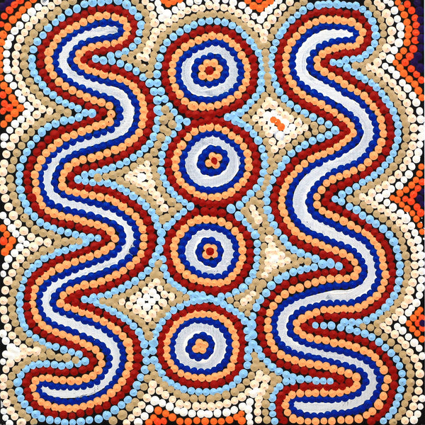 Aboriginal Art | Rochelle Nampijinpa Major, Warna Jukurrpa (Snake Dreaming), 30x30cm