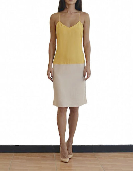 Tibi Yellow Color-block V Neck Cami Dress